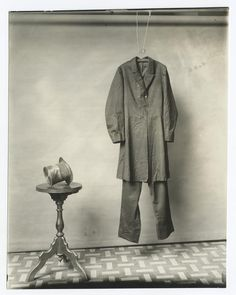 """The suit and hat worn by Lincoln on the night of his assassination. Photograph made by the Smithsonian, circa 1890."""