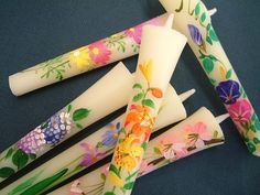 Candles painted flowers made in Fukushima 手造り絵ろうそく