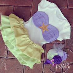 Baby Girl Disney Little Mermaid inspired Onesie, Lovely Ruffles Mermaid Outfit on Etsy, $35.00