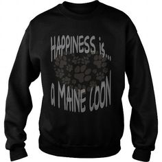 HAPPINESS IS A MAINE COON Crew Sweatshirts T-Shirts, Hoodies ==►► Click Order This Shirt NOW!