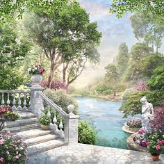 Garden's Dreams by Athena Beautiful Paintings, Beautiful Landscapes, Beautiful Gardens, Mural Painting, Mural Art, Fantasy Landscape, Fantasy Art, Watercolor Landscape, Landscape Paintings