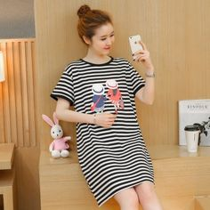 TE1771JXMM Summer stripes cartoon print maternity t-shirt dress Product Detail: COLOR: Stripes Fabric: Cotton WEIGHT: 0.310kg SIZE: M, L, XL, XXL M: Length: 85cm, Bust: 98cm, Waist: 106cm, Shoulder: 42cm L: Length: 86cm, Bust: 102cm, Waist: 110cm, Shoulder: 43cm XL: Length: 87cm, Bust: 106cm, Waist: 114cm, Shoulder: 44cm XXL: Length: 88cm, Bust: 110cm, Waist: 118cm, Shoulder: 45cm