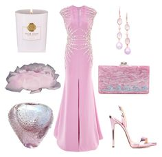 """Pink lady to Cannes"" by tisleynel on Polyvore featuring mode, Naeem Khan, Giuseppe Zanotti, Edie Parker, London Road, Rituals et iCanvas"