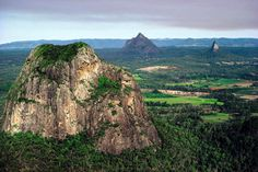 Glasshouse Mountains, Mt. Tibtogargan -Mt. Ngungun extinct volcanoes - Sunshine Coast - Australia