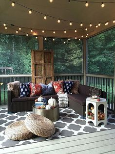 Global Chic Fall Tour on the back porch! Look at this gorgeous door and all of the glorious textiles from Home Goods!