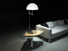 ART DECO is a side table with a rotating lampoon top of it or a floor lamp with an integrated coffee-table.
