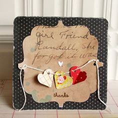 Note 2 self : this is a cute way to use string to put across a card.  By Danielle Flanders