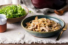 Sicilian-style chicken and bucatini with goat cheese, currants, and walnuts | Sun Basket Bucatini Pasta, Poached Chicken, Easy Pasta Dishes, How To Cook Pasta, Goat Cheese, Sicilian, Stuffed Peppers, Chicken Breasts, Healthy