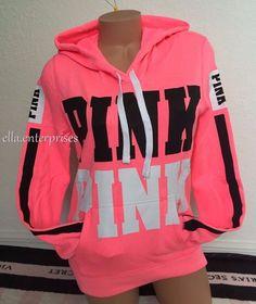 Victoria's Secret Pink Bright Neon Pink Black White Logo Pullover Hoodie M NIP | eBay