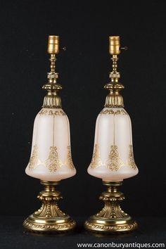 Pair French Art Nouveau Opaline Glass Table Lamps Lights Antique Table Lamps, Paris Flea Markets, Opaline, French Art, Arabesque, Leaf Design, Decorative Bells, Art Nouveau, Glass Table
