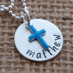 Baby Boy Baptism Personalized Hand Stamped Necklace