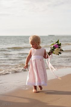 Flower girl dress and hair clips - Chic pink linen flower girl dress and  hair clips - Special occasion linen girl clothing