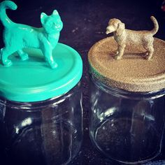DIY Pet Stuff...  Homemade dog and cat treat mason jar containers for the holidays, plus a recipe for apple cinnamon pet treats!