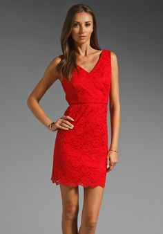 JARLO-Marilyn Lace Dress in Red
