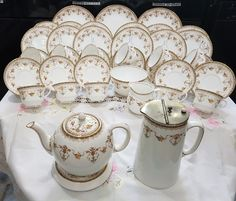 Large vintage Aynsley tea set service green 16199 teapot trivet cups saucers etc | eBay