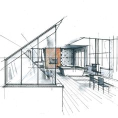 Perspective d 39 une cuisine ouverte philippe ponceblanc for Dessin architecte interieur