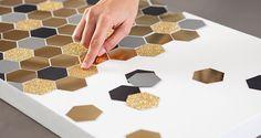 DIY Hexagon Artwork  Paper punch + metallic card