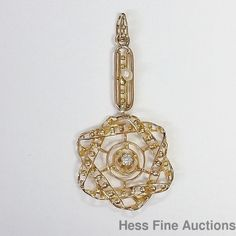 Antique 14k Gold Numbered Diamond Seed Pearl Star Of David Lavaliere Pendant #Pendant