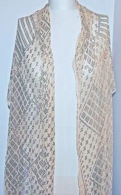 "vintage EGYPTIAN ASSUIT SILVER SHAWL 87"" LONG X 25"" wide geometric designs"