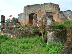 Laos: Ruins of French hospital in Muang Khoun, former capital of Xieng Khuang province, destroyed by US bombing in the late 1960s.