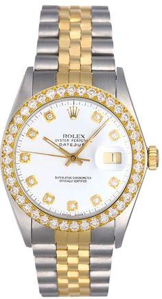 Rolex Datejust Mens 18kt & Steel White Diamond Dial & Diamond Bezel !  #Rolex #Dress