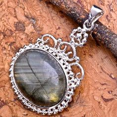 Amazing Sterling Silver Plated Labradorite Gemstone Pendant #9831 $12.95