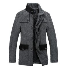 Manteau en tweed style caban slim fit pour homme