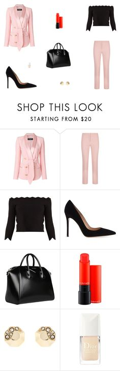 """""""Untitled #9299"""" by mie-miemie ❤ liked on Polyvore featuring Balmain, ESCADA, Alexander McQueen, Gianvito Rossi, Givenchy, MAC Cosmetics, Karen Millen and Christian Dior"""