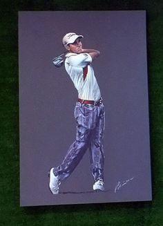 Raphael cabrerra Bello Original Painting by Mark Robinson. Now showing at Galgorm Castle Golf Club, Northern Ireland. Golf Card Game, Dubai Golf, Tennis Accessories, Golf Art, Miniature Golf, Golf Lessons, Play Golf, Golf Tips, Golf Clubs