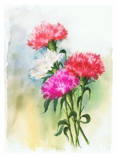 """Carnations"" Watercolor on Arches 300g block. Some flowers to celebrate spring is here! ""Claveles"" Acuarela sobre block Arches 300 grs. Unas flores para celebrar que ya esta aquí la pri…"