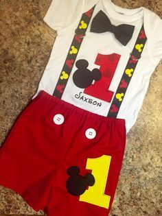 Birthday Mickey Mouse Shirt and Shorts by IrresistiblEmbroider