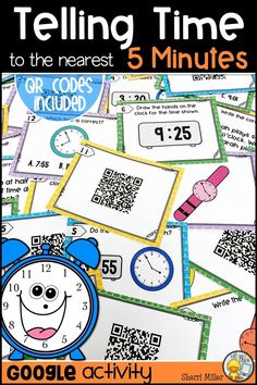 These Telling Time to the Nearest 5 Minutes task cards are perfect for review in centers or as a scoot game. They can be used in small groups, large groups, for intervention or enrichment. There are 2 sets of 25 task cards. Both sets are of the same questions. The first set contains QR codes only. Scan the code with a mobile device to reveal the question. The second set just includes the question. A student response sheet and answer key are also included.