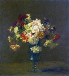 Victoria Dubourg Fantin-Latour (French painter)  1840 - 1926 Vase d'Oeillets, 1906 oil on canvas 34 x 31 cm. (13.5 x 12.25 in.) signed and dated V. Dubourg 1906 lower left