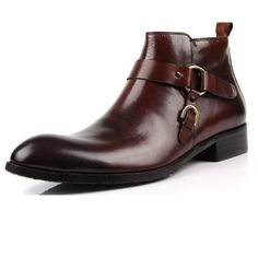 New Real Leather Men's Ankle Boots Dress Formal Shoes Work Buckle Strap 5.5-11
