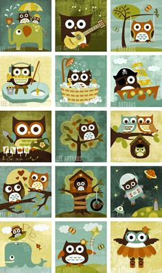 cute retro owl paintings -- my mom in law actually used these as inspiration for a quilted wall hanging for the boys room after seeing them on etsy!  I love these guys!