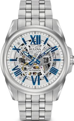 Embrace classic style with contemporary function in this Bulova Sutton automatic watch for him. Crafted in stainless steel, this quality timepiece fea. - Men& Bulova Sutton Automatic Watch with Silver-Tone Skeleton Dial (Model: Automatic Skeleton Watch, Automatic Watches For Men, Stainless Steel Watch, Stainless Steel Bracelet, Bulova Mens Watches, Women's Watches, Luxury Watches, Wrist Watches, Watches Online