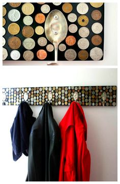 OLD Silverware and Coins becomes a coat rack - Complete how-to here - TUTORIAL -  http://snickerdoodlecreations.blogspot.com/2010/11/coat-rack.html