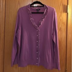 Chaps 3X Cardigan Chaps excellent condition cardigan. Very pretty detail around the collar and down the front. Size women's 3x. 83% cotton, 17% nylon. Chaps Sweaters Cardigans