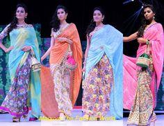 HALF AND HALF PRINTED SAREES   http://www.maguvathefashionworld.com/2014/08/half-and-half-printed-sarees.html#.U-VrMcddWY8