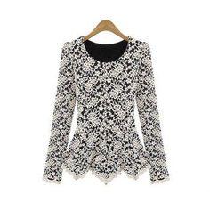 #AdoreWe #DressLily Dresslily Scoop Neck Lace Covered T Shirt - AdoreWe.com
