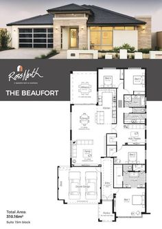 44 Ideas House Plans 4 Bedroom One Story Layout Garage - 44 Ideas House Plans 4 Bedroom One Story Layout Garage - One Level House Plans, House Layout Plans, House Plans One Story, Best House Plans, Dream House Plans, Small House Plans, House Layouts, House Floor Plans, 4 Bedroom House Plans
