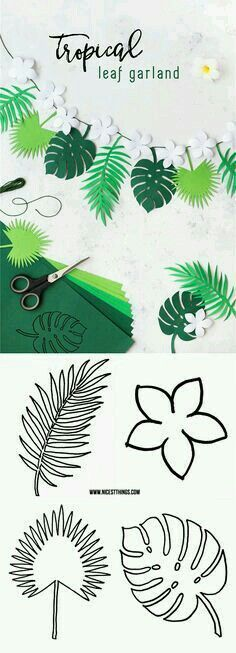 Luau or summer party coming up? Your party decor wouldn't be complete without this DIY Tropical Leaf Garland! Plus, learning how to create your own paper ferns and fauna is sure to become your new favorite craft technique. Recipes With Fruit Cocktail, Deco Jungle, Jungle Theme, Motif Jungle, Safari Theme, Papier Diy, Diy Y Manualidades, Flamingo Party, Leaf Garland