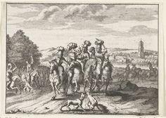 Anonymous   Jachtpartij van de edelen en de graaf, 1296, Anonymous, 1662 - 1664   Jachtpartij van de edelen en de graaf Floris V. Landschap met edelen te paard.
