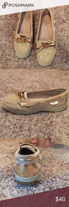 Sperry top sider Tan soft leather with gold rhinestones on top on shoe and gold back Sperry Top-Sider Shoes Flats & Loafers
