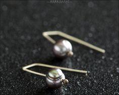 Sterling Silver Gunmetal Freshwater Pearl Earrings - Jewelry by Jason Stroud.
