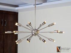 Mid Century Modern 24 Arm Chrome Brass Sputnik by Nauticalvintagee Starburst Light, Sputnik Chandelier, Chandeliers, Messing, Polished Brass, Home Lighting, Light Fixtures, Mid-century Modern, Chrome