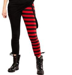 Attitude Clothing - Alternative, Gothic, Punk, Rock Clothing, Shoes, Brands + Accessories - Cupcake Cult Stripe Leggings (Red)