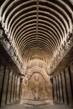 """my favorite place in Ellora.  Ellora cave temples, India. The Vishwakarma (Cave 10) is the only chaitya griha amongst the Buddhist group of caves. It is locally known as Vishwakarma or Sutar ka jhopda """"carpenter's hut"""". UNESCO World Heritage Site."""