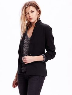One-Button Knit Blazer Because this is a tall, the shoulders should be wider and the sleeves longer, which means it might work. Also the knit means it could be stretchy.