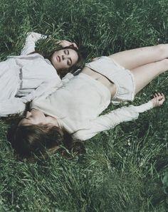 Alma Durand and Karolina Gorzala by Clare Shilland for Elle France July 2013